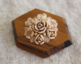 Vintage Celluloid Flowers and Carved Wood Brooch Pin