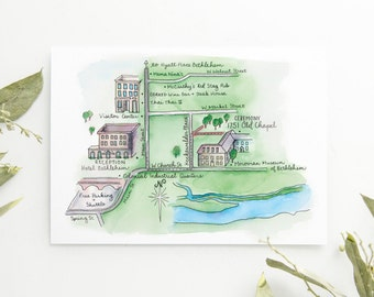 Custom Ink and Watercolor Wedding Map -  Digital File -  High Quality