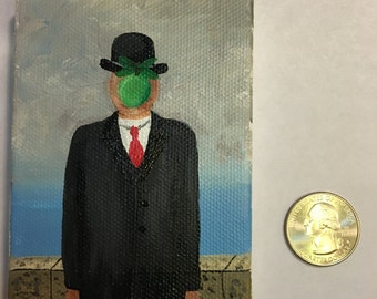 Miniature Painting Magritte Son of Man Tiny Painting Miniature Art
