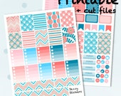 Sweet Peach with Silhouette Cut Files, JPEG's, PDF's / Printable Planner Stickers / Erin Condren Vertical Life Planner