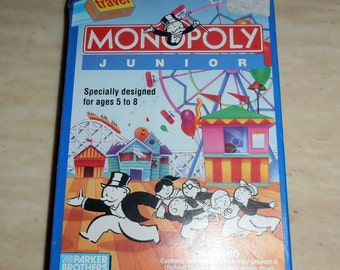 Monopoly Junior Specially Designed for ages 5 to 8 By Parker Brothers - 1991 Multiplayer game - Travel Game - Travel Monopoly
