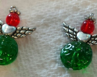 red and green angel pendant (one per order)