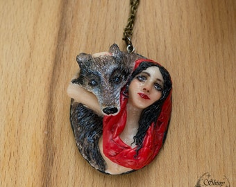 Red Riding Hood and the Wolf necklace