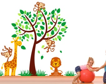 Tree with Monkeys, Giraffe and Lion Mural Vinyl Wall Decal Sticker for Nursery, Girl's, Boy's Room or Playroom
