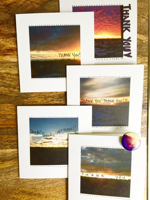 Set of 5 cards and button, Thank you card set, Thank you card set, thank you card funny, Skyline Cards