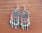 Handmade Silver and Turquoise Dream Catcher Earrings