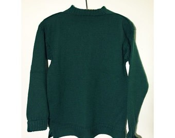Vintage Guernsey Knitted Wool Sweater, Green. Structured Bookish Nerd Preppy Fisherman. Jonelle. Size 12.