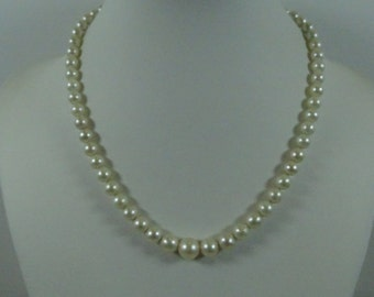 "Vintage Estate Graduated Pearl Necklace(15 1/2"") with 14k Gold Closure"