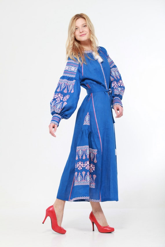 Embroidered Long Boho Dress Blue Woman Ukrainian By