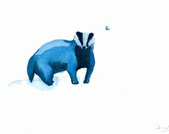 Original illustration of an English Badger in ink