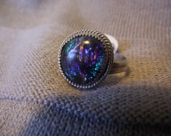 Blue and Purple Dichroic Glass and Sterling Silver Size 8