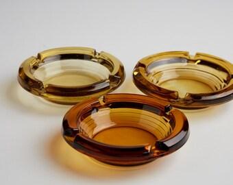 Set of 3 Amber Glass Ash Trays