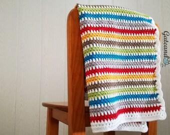 Baby crochet blanket. cotton yarn 100% Drops safran. Baby blanket.