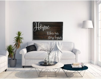 Wedding Gift - Home Where Our Story Begins - Wedding Gifts - Large Wood Signs - Rustic Decor - Wood Wall Art - Wedding gift for Couple