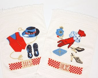 Vintage Guest Towels His and Hers Red Blue Gold