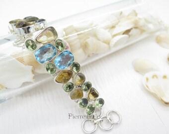 Blue Topaz Citrine Nugget Green Amethyst Sterling Silver Bracelet