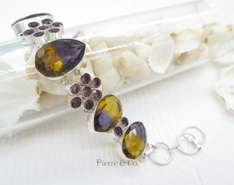 Ametrine and Amethyst Sterling Silver Bracelet