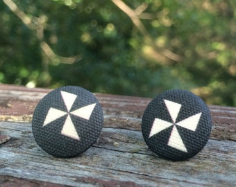 16mm Canvas/fabric nickel-free earrings - black and white pinwheel earrings