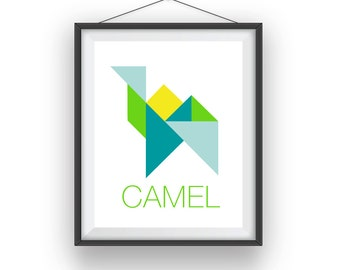 Tangram Camel, Tangram Camel wall print, Geometric room art, playroom decor, nursery art, wall decor, children wall art, 8x10 print