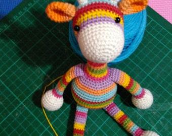 Rainbow Giraffe Crochet Animals