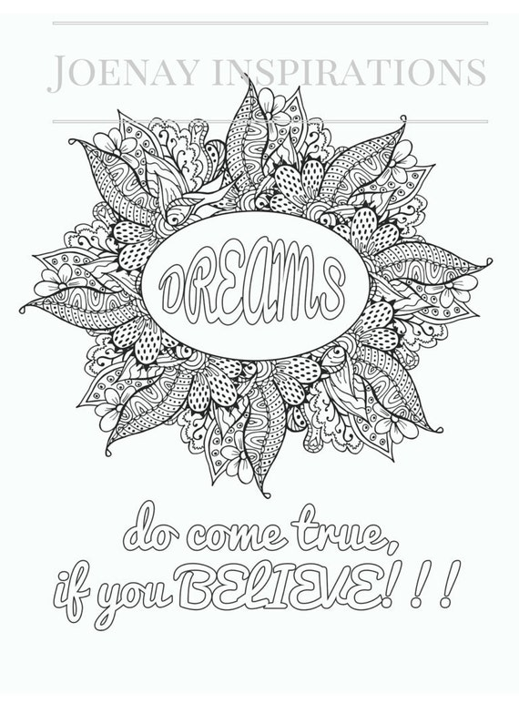 Adult Coloring Book Printable Coloring Pages, Coloring Pages, Coloring Book for Adults Instant Download Inspiration and Affirmation 1 page13