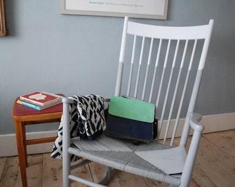 SOLD * Rocking chair, grey and white painted vintage chair