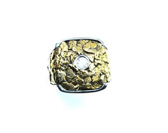2332-Men's Gold Nugget Ring Promotion 15% Off