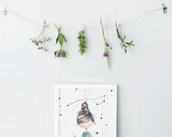 Girl illustration art - Watercolor prints - Nursery wall art - Nursery decor - Constellation art prints - Kids room wall art - Girls gift