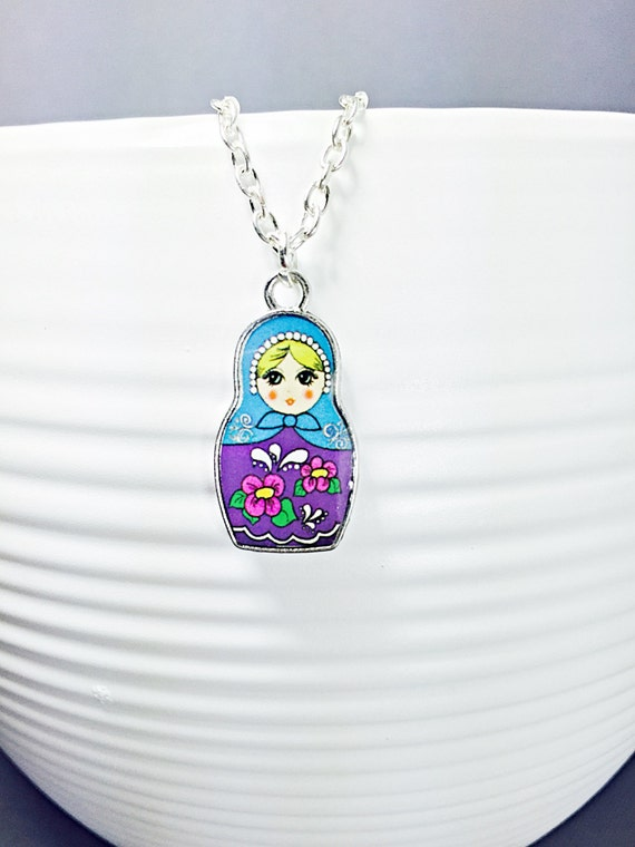 Necklace.Nesting Doll Necklace.Matryoshka Pendant.Russian Doll Charm ...