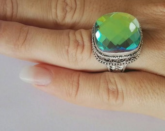 Vintage style mystic topaz sterling silver  ring