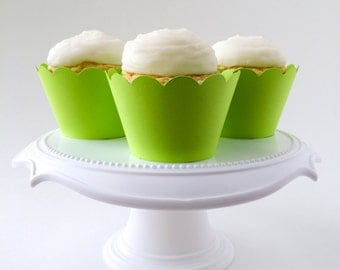 Set of 12 –Lime Green Cupcake Wrappers – Standard Sized