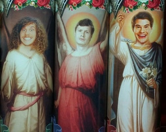 Set of 3  Workaholics Candles  - Adam, Anders,  and Blake -  Celebrity Saint Prayer Candle
