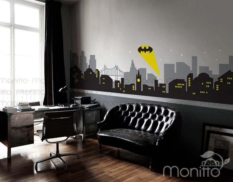 Gotham city wall mural images for Batman cityscape wall mural