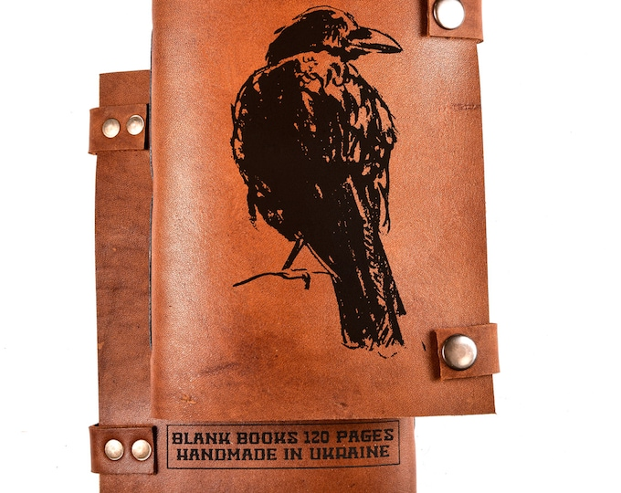 Crow Notebook - Leather Journal - Leather Notebook - Leather Sketchbook - Personalized Journal - Personalized Notebook - Bird notebook