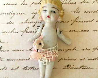 Adorable Little All Bisque Art Deco Look Doll With Occupied Japan Mark