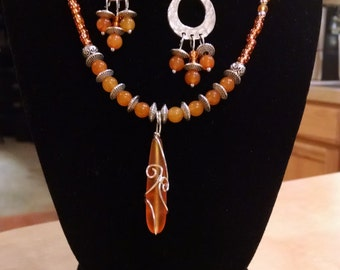 Wire Wrapped Tangerine Seaglass Beaded Jewelry Set
