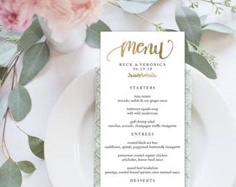 "Wedding Menu Printable, Menu Editale Template | Menu Printable, Reception Printable, Gold Hand lettered, Dinner Menu 4x9""| No. EDN 5114"