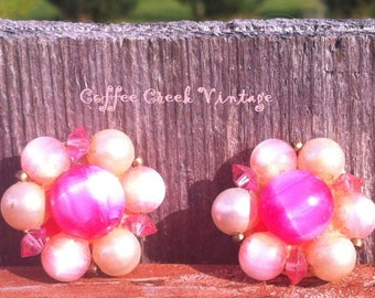 Vintage Earrings- Lisner cluster earrings...beautiful pinks, clip.