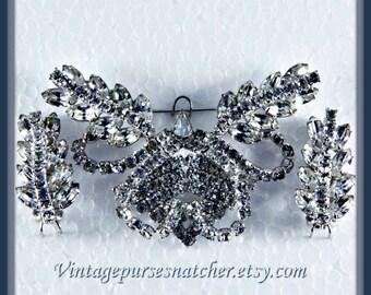 Vintage Rhinestone Demi-Parure,Vintage Rhinestone Brooch,Vintage Rhinestone Earrings,Vintage Statement Brooch,Vintage Statement Jewelry Set