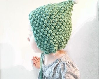 handknit pixie hat pom poms baby and toddler girl
