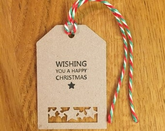 Set of 12 Hand Stamped & Hand Punched Recycled Kraft Christmas Gift Tags - Happy Christmas Stars