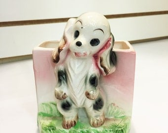 Vintage Ceramic Spaniel Puppy with Pink Planter Made in Japan #37