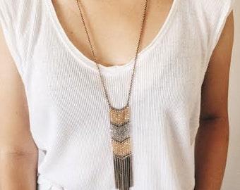 Antique gold beads fringe long necklace