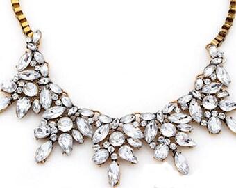 Crystal Petal Statement Necklace