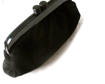 Vintage Black Clutch Purse Bag Suede Purse Black Suede Leather Bag Made in Italy 1970s 1980s Clutch
