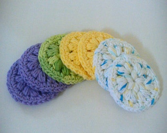 Face scrubbies, Makeup remover pads, facial care spring face scrubbie 7 set, crocheted makeup remover