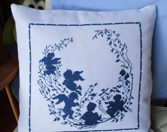 The shadows of angels on hand embroidered pillow