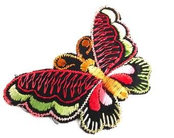 Antique Applique, Butterfly applique, 1930s vintage embroidered applique. Vintage patch, sewing supply. Applique, Crazy quilt. #646GF0K17