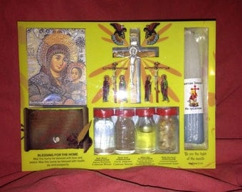 Holy water set, Holy candles from Church of the Holy Sepulchre, Jerusalem, holyland