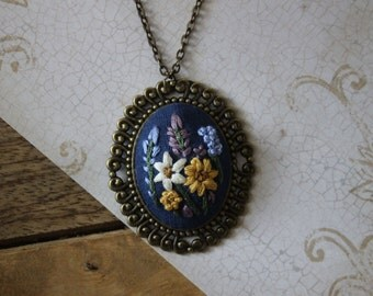Large Daisy Hand Embroidered Necklace